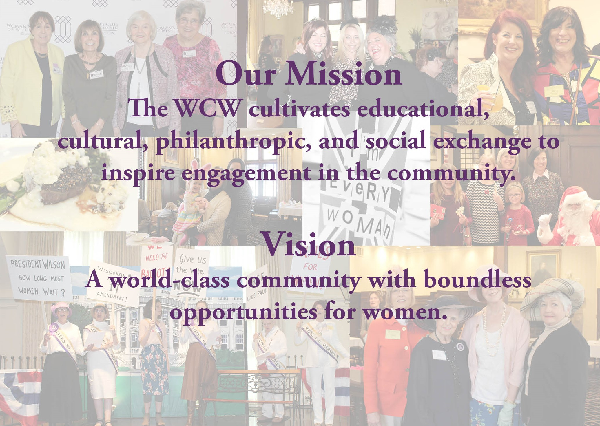 Woman's Club of Wisconsin photo collage and mission statement