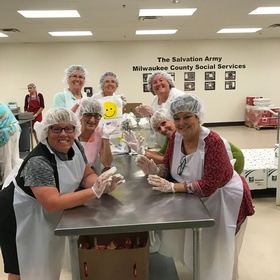 Salvation Army Feed the Kids sandwich making